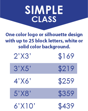 Customized Applique Flag - Simple Class Price Chart